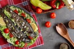 Trucha asada con la verdura Foto de archivo