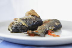 Trucha frita con la cebolla y la pimienta Fotos de archivo libres de regalías