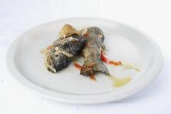 Trucha frita con la cebolla y la pimienta Fotografía de archivo