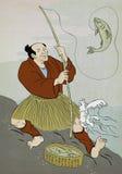 Trucha japonesa de la pesca del pescador Imágenes de archivo libres de regalías
