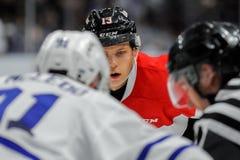 Truchas arco iris de Mississauga contra Ottawa 67 Juego de hockey Fotos de archivo