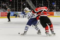 Truchas arco iris de Mississauga contra Ottawa 67 Juego de hockey Foto de archivo libre de regalías