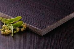 Truciolato laminato buio con i fiori del tiglio Immagini Stock