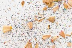 Trucioli della matita isolati Fotografia Stock