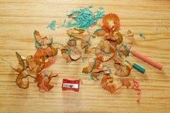 Trucioli della matita isolati Fotografie Stock