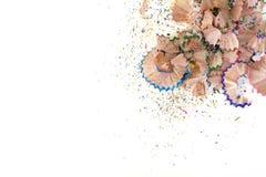 Trucioli della matita isolati su fondo bianco Immagine Stock Libera da Diritti