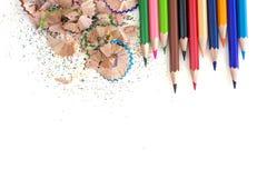 Trucioli della matita isolati su fondo bianco Fotografia Stock Libera da Diritti