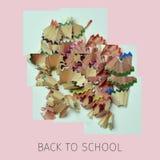 Trucioli e testo della matita di nuovo alla scuola Fotografia Stock