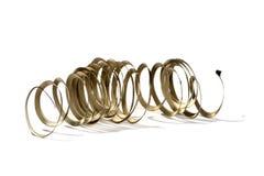 Trucioli a spirale del metallo del tornio Fotografie Stock Libere da Diritti