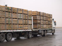 Truck 01. Cargo truck parked and loaded with wooden crates Royalty Free Stock Photography