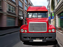 Truck. Big truck on a city street in motion Royalty Free Stock Photos
