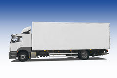 Truck. Isolated on blue background Royalty Free Stock Images