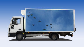 Truck. Isolated on blue background Royalty Free Stock Photos