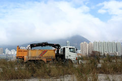 Truck. Construction truck with sky and land Royalty Free Stock Photography
