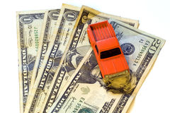 Truck. Toy truck with american money Royalty Free Stock Photos