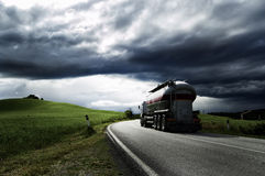 Truck. A white truck run on a road Stock Photos