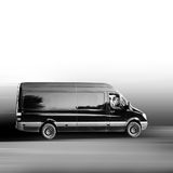 Truck. A black van on the way to the customer Royalty Free Stock Photos