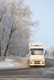 Truck. Truck on the roadside in zsnezhennom forest. Winter stock photography