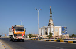 Truck. Truck on the background of a Muslim mosque royalty free stock image