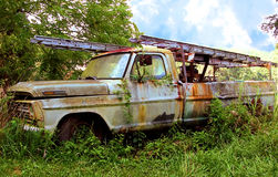 Truck. Rusty Truck ***The graveyard for an old work truck is wherever it was when it happened to die. Weeds, vines and rust decorate this old abandoned work stock image