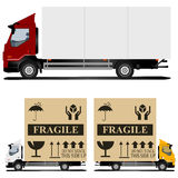 Truck. One truck with shipping container and two trucks with fragile cargo boxes Royalty Free Stock Photos