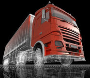 Truck. A big trailer truck, 3d image Royalty Free Stock Photography