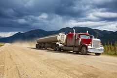 Truck. On Alaska in the Dalton Highway,USA Royalty Free Stock Image