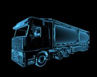 Truck. (3D xray blue transparent Royalty Free Stock Photography