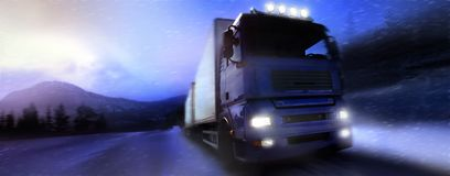 Truck. Driving on country-road/photographic-retouching Stock Photo