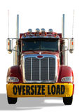 Truck. Red truck with Oversize Load banner isolated over a white background Royalty Free Stock Photos