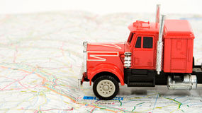 Truck. Transportation and travel concept - truck on the map Stock Image