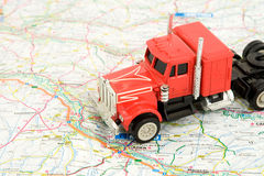 Truck. Transportation and travel concept - truck on the map Royalty Free Stock Images