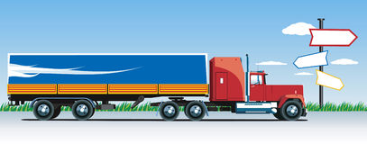 Truck. Vector truck on the road Royalty Free Stock Image