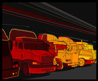 Truck 5. Large trucks parked in a row Royalty Free Stock Images