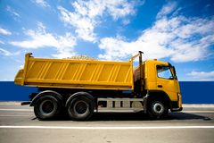 Truck. Big heavy truck on the road loaded Royalty Free Stock Image