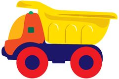 Truck. Toy with red wheels and yellow mover Stock Photo