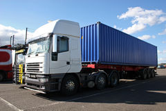 Truck. Container heavy goods lorry in park Royalty Free Stock Photography