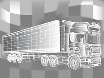 Truck abstract lines design concept. Black and white truck painted lines. Vector illustration the drawing Stock Illustration