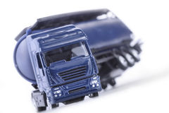 Truck in an Accident. Big blue truck in an accident on white background Stock Photos