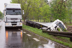 Truck accident. The driver probably fell asleep at the wheel Royalty Free Stock Photos