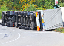 Truck accident. Truck fell over after accident stock image