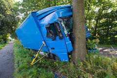 Truck accident on road Royalty Free Stock Photography