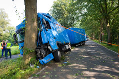 Truck accident on road Stock Photos