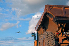 Truck and Airplane. Picture of a large truck and small airplain Royalty Free Stock Photos