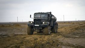 Truck all terrain. Road vehicle work in the steppe Betpakdala, where there are no roads Stock Photo
