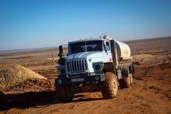 Truck all terrain. Terrain truck running in the steppe Betpakdala Royalty Free Stock Photography