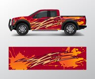 Free Truck And Cargo Van Wrap Vector, Car Decal Wrap Design. Graphic Abstract Stripe Designs For Vehicle, Race, Offroad, Adventure And Royalty Free Stock Image - 187203866