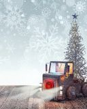 Truck arriving with white Christmas trees Royalty Free Stock Images