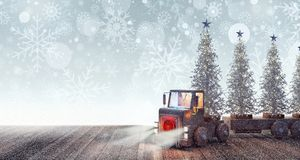 Truck arriving with white Christmas trees Stock Photos