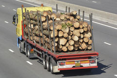 Truck with articulated trailer carrying tree trunks Stock Photography